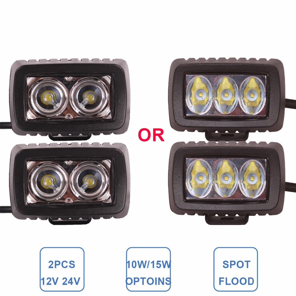Offroad 10W 15W LED Work Light Driving Fog Headlight 12V 24V ATV Motorcycle SUV Bicycle Boat 4X4 4WD Truck Car Auto Camper Lamp