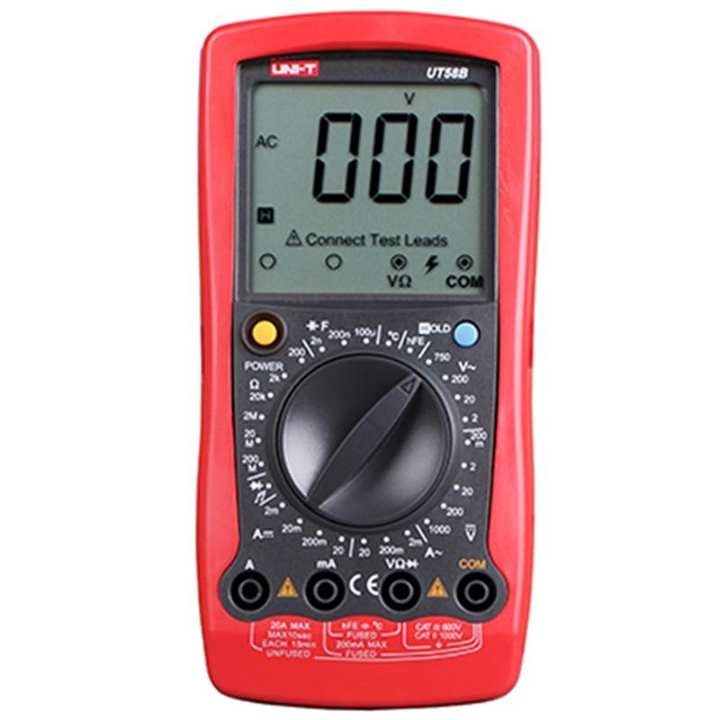 UNI-T UT58B LCD Digital Multimeter AC DC Volt Amp Ohm Capacitance Temp Tester Digital Universal Meter LCD Display