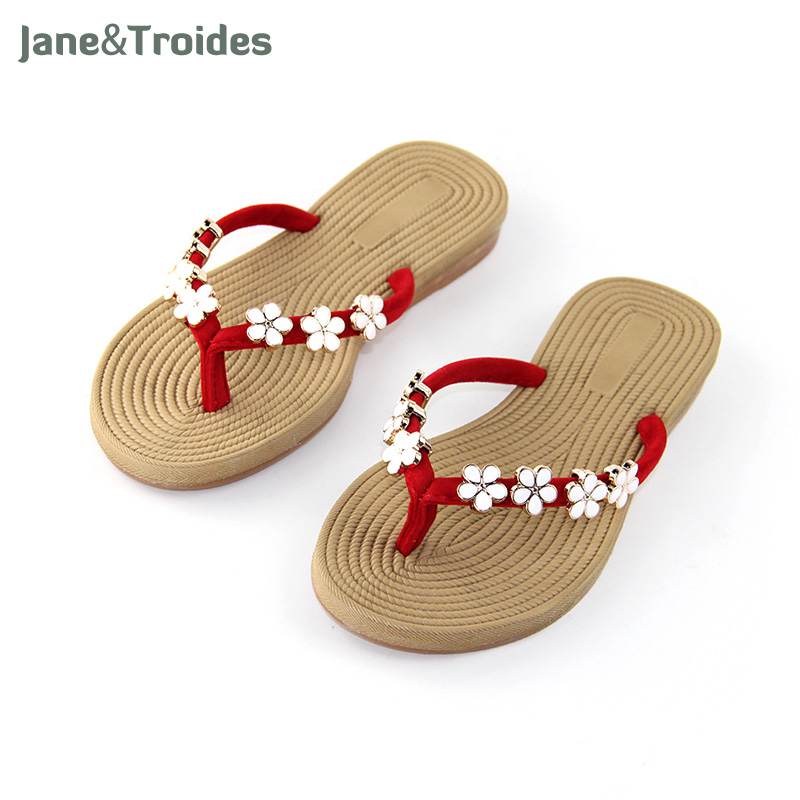 Summer Floral Beach Women Flip Flops Linen Seaside Anti Slip Slippers Holiday Outside Casual Sandals Fashion Woman Shoes new 2017 summer style outside flip flops fashion slippers beach flat shoes woman sandals snake sandalias fashion slippers free