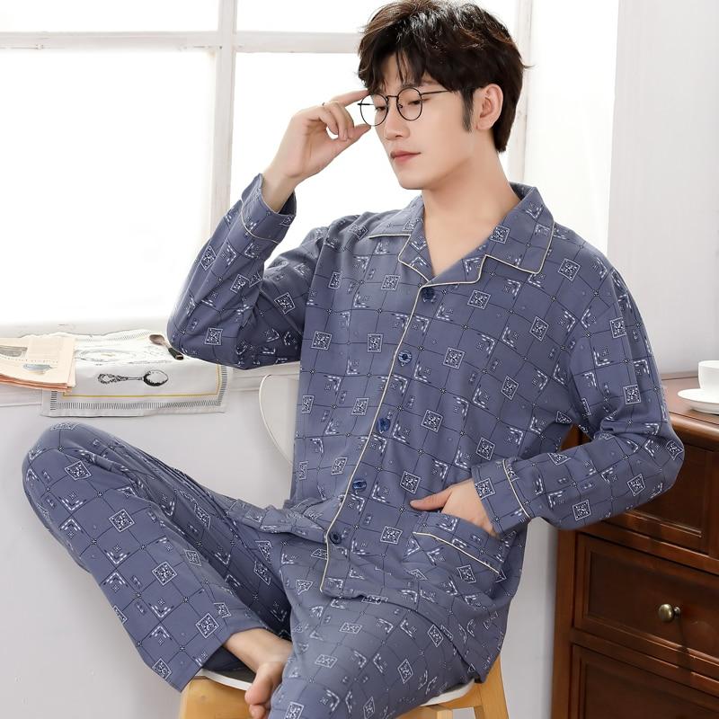 Big Yards M-4XL Cotton Pajama Sets For Men Geometric Print Winter Long Sleeve Cardigan Pyjama Homewear Loungewear Clothes