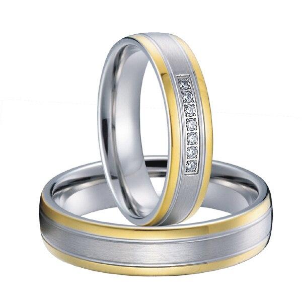 Пользовательские Свадебная пара titanium стали пары обручальные кольца комплекты новинка 2015 цвет золотистый альянсов Анель