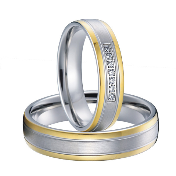 Custom Bridal Pair titanium steel couples wedding rings sets 2015 new gold color alliances anel