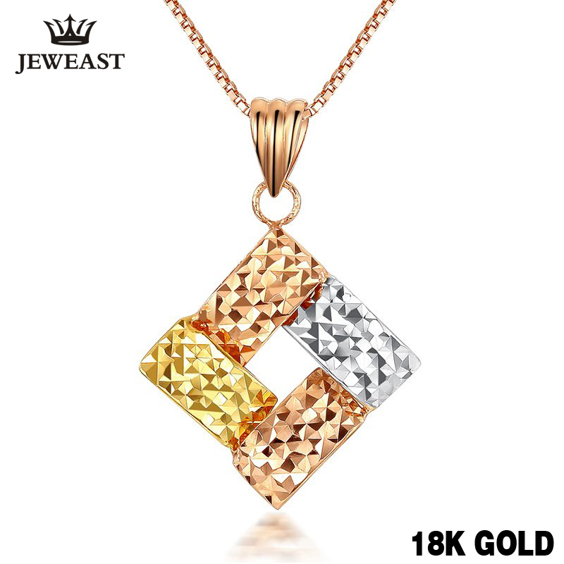18k Gold Charm Cube Shape 2020 New Jewelry Genuine Rose Pendant Woman Girl Fashion Pure Multicolor Classic Party Discount Fine