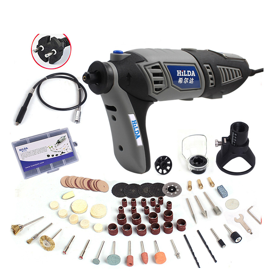 220V 180W Variable Speed Dremel Rotary Tool Electric Mini Drill with EU Plug Flexible Shaft and 133pcs Accessories tasp 220v 130w electric dremel rotary tool variable speed mini drill with flexible shaft and 175pc accessories storage bag