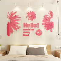 Creative Chrysanthemum Acrylic 3D wall stickers Shop window Abstract stickers Bedroom Living room DIY art wall decor
