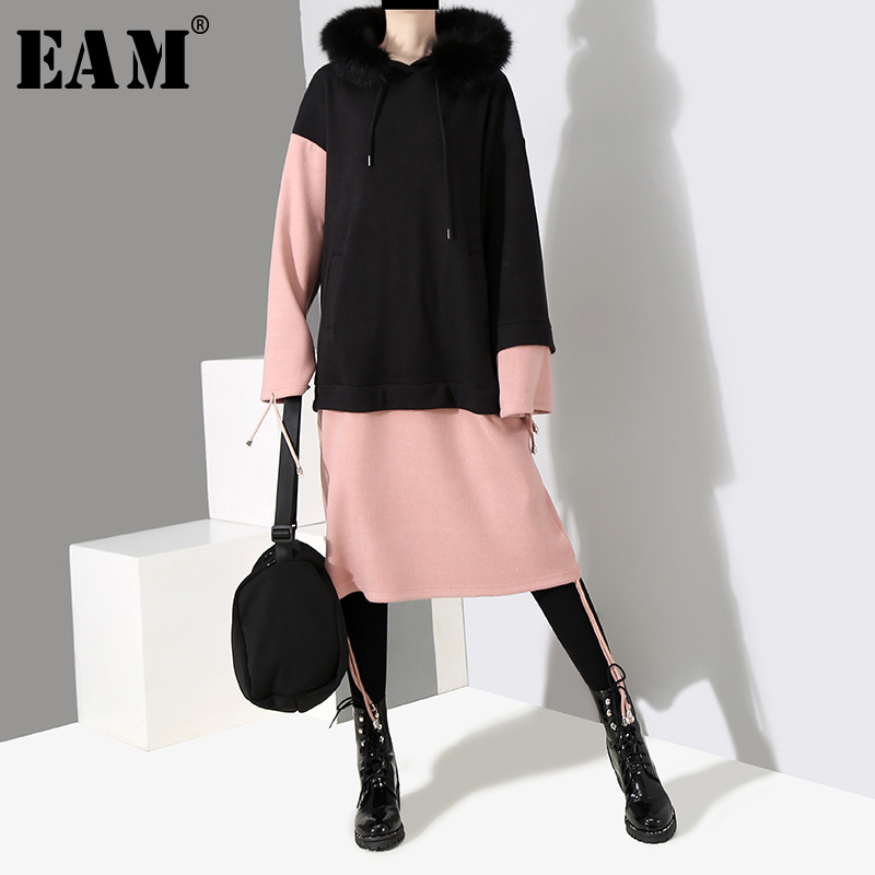 [EAM] 2019 New Spring Fur Hooded Long Sleeve Black Hit Color Split Joint Big Size Thick With Fleece  Dress Women Fashion JL472