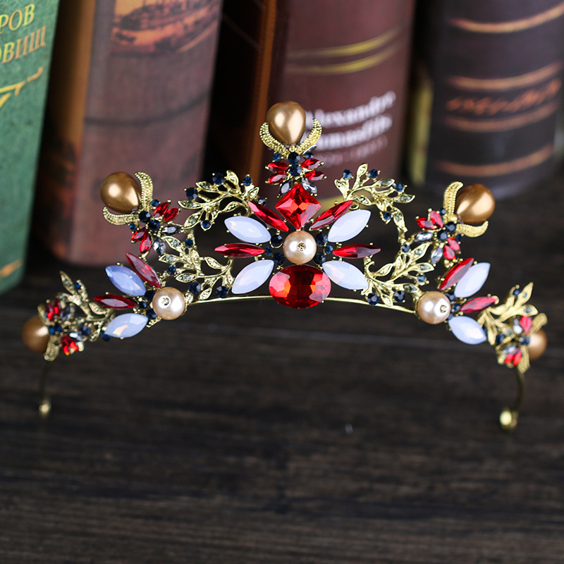 New Fashion Wedding Crown Hair Jewelry Vintage Gold Red Crystal Handmade Rhinestone Pearl Bridal Tiaras Crown Accessories