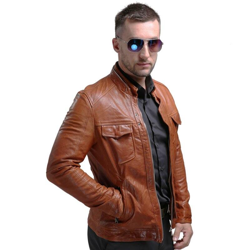 Pria Asli Jaket Kulit Musim Dingin Nyata Jaket Kulit Moto & Biker - Pakaian Pria - Foto 2
