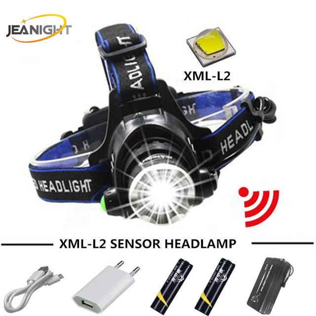 USB LEDRU Head Lamp XML L2 Sensor Headlamps 5000LM Headlight Flashlight  Waterproof Torch Lantern Fishing