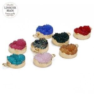 5Pcs/lot Resin Druzy Quartz Charms Round Pendant Charms 13.5mm Diameter For Bracelet Diy Jewelry Making(China)