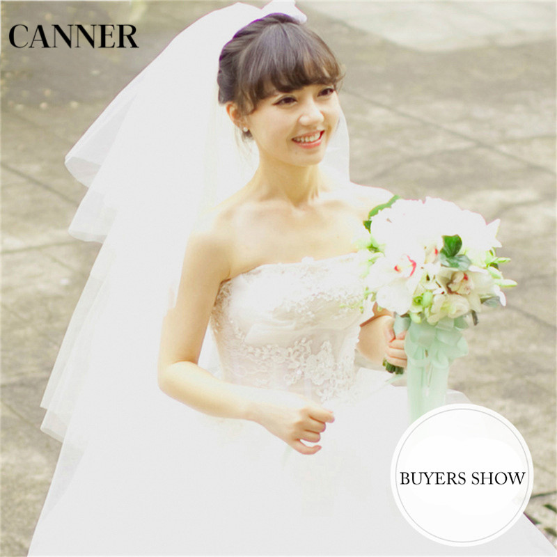 Canner Women Wedding Veil Puffy Short Tulle With Comb Champagne White 4 Layer Cathedral Bride Veils