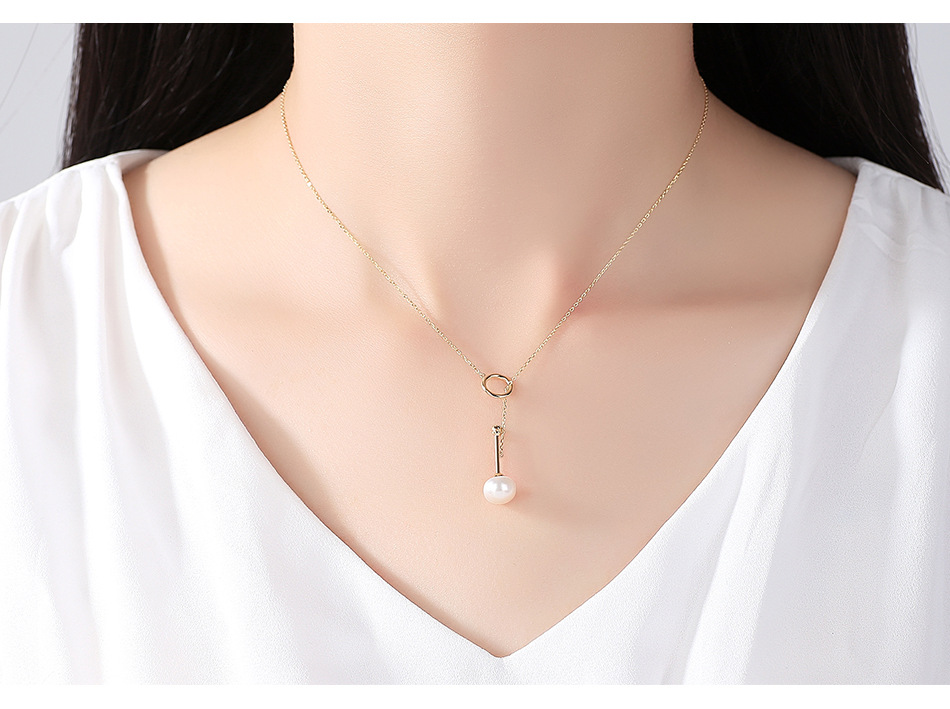 S925 sterling silver necklace natural freshwater pearl simple fashion accessories CHA01