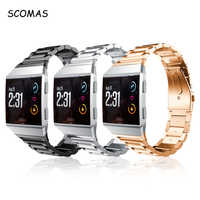 SCOMAS For Fitbit Ionic Bands Classic Stainless Steel Metal Replacement Strap With Metal Clasp Buckle Smart Watch Band