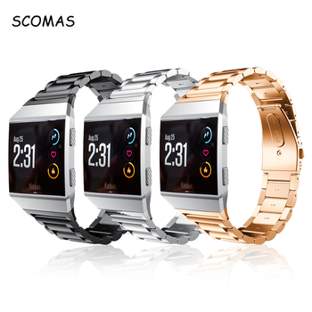 SCOMAS For Fitbit Ionic Bands Classic Stainless Steel Metal Replacement Strap With Metal Clasp Buckle BD038 Smart Watch Band
