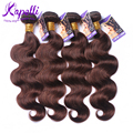 Rosa Hair Products Brazilian Virgin Hair 4pcs Brazilian Body Wave human hair Dark Brown #2 Virgin hair Extensions Free shipping