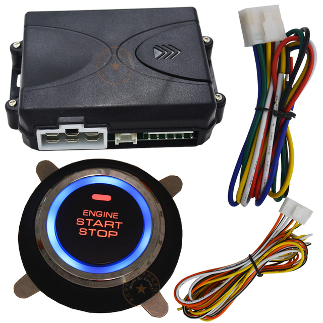 New push start button start stop car engine function working with car alarm system and remote central lock blue color back light