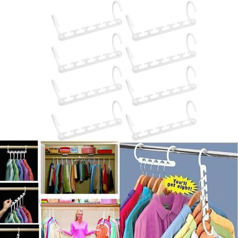 8Pcs/lot Clothes Hanger Rack Wardrobes Shop Closet Wardrobe Clothing Hooks Space Saver Home Organizer Set White
