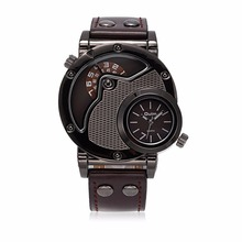Роскошные Ювелирные Изделия Аксессуары Dual Time Движение Кожа Кварцевые Наручные Часы для мужчин Ювелирные Изделия