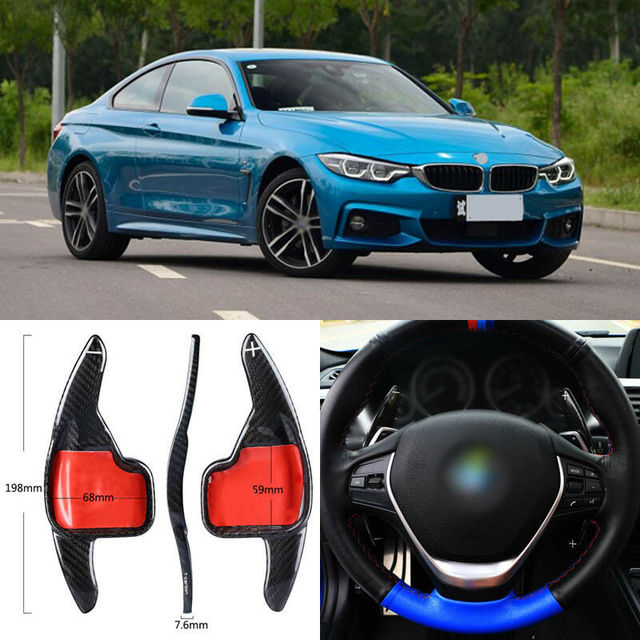 $ 102.45 Carbon Fiber Gear DSG Steering Wheel Paddle Shifter Cover Fit For BMW 4 Series 13-18