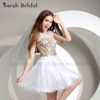 White Gold Crystal Beaded Short Homecoming Dresses For Girls Party Gown 2015 New Fashion Mini Graduation