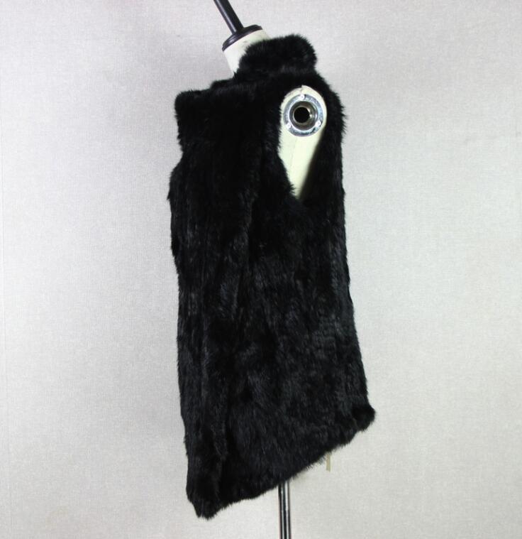 Long Grand gris Lapin Veste Style Chaud Filles noir Femmes Fourrure Beige Tricoté Cascade Manteau De Naturel Hiver Gilet qTSIxE8yw