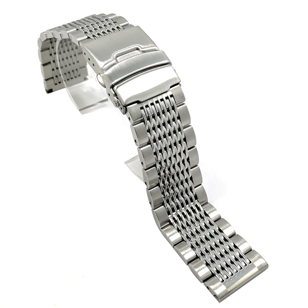 BEAFIRY 18mm 20mm 22mm 24mm Stainless Steel Black Silver Buckle Watchband High Quality Wristwatches Strap Classic