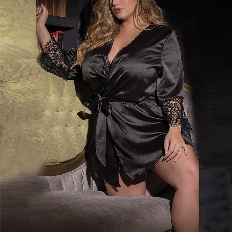 Sexy Women Short Satin Robe Lace Lingerie V-neck Sleepwear Summer Bathrobe Nightwear -MX8