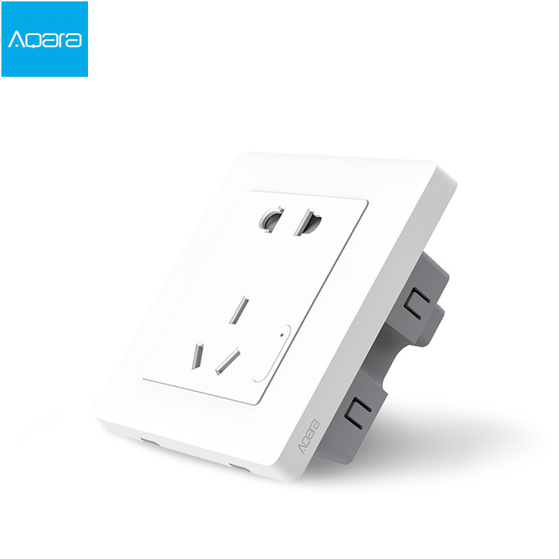 Xiaomi Smart home Aqara Smart Light Control ZiGBee Interrupteur Mural Socket Plug Via Smartphone APP Sans Fil À Distance 10A/2500 W