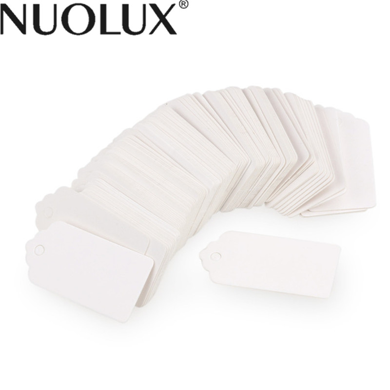 100pcs 40*20mm Scalloped Blank Kraft Paper Card / Wedding Favour Gift Tag / DIY Tag / Luggage Tag / Price Label With Rope