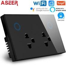 ASEER,Smart 3 Pin doble enchufe WIFI 10A para Tailandia, panel de cristal táctil WIFI Outletl, control por voz y APP por Alexa & Google