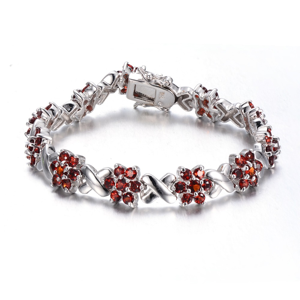 Hutang Real Garnet Diamond-Jewelry 925 Sterling Silver Chain Flower Bracelet for women Girl Fine Jewelry Monther's Day Gift 2017 gw jewelry 925 silver foot chain butterfly and flower girl pink anklet chain 925 pure real silver anklet ac002h20