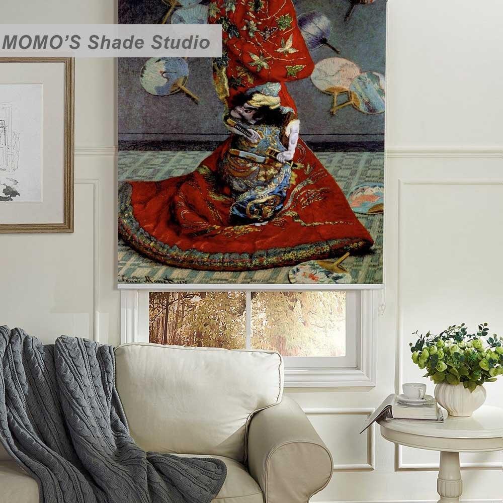 MOMO Roller Blinds Painting Window Blinds Shades Blackout Zebra Blinds Fabric Roller Shutter Curtains Custom Size,PRB set779