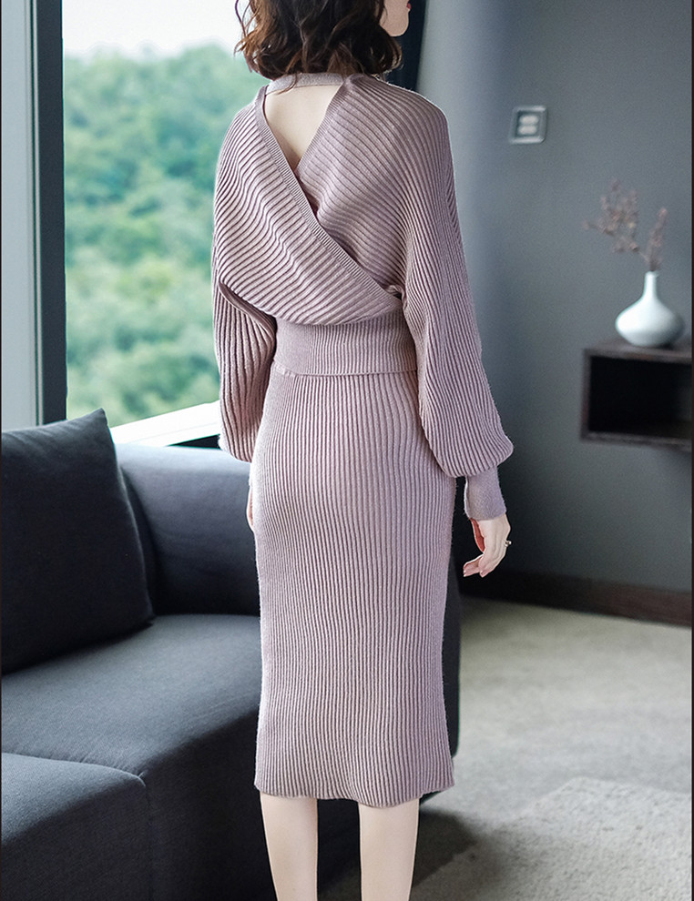 Women s Suit with Skirt Sexy Double V neck Cross Batwing Sleeve Top sweater high waist