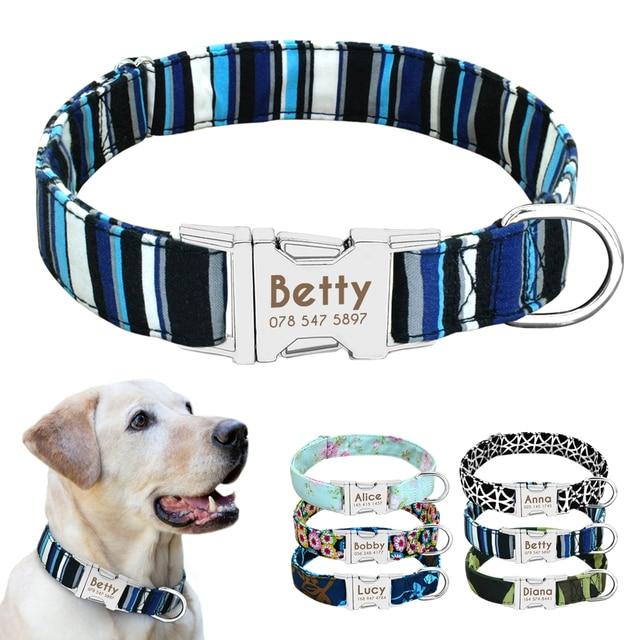 Collare di cane di Nylon Personalizzato Dog ID Tag Collare Inciso Targhetta del