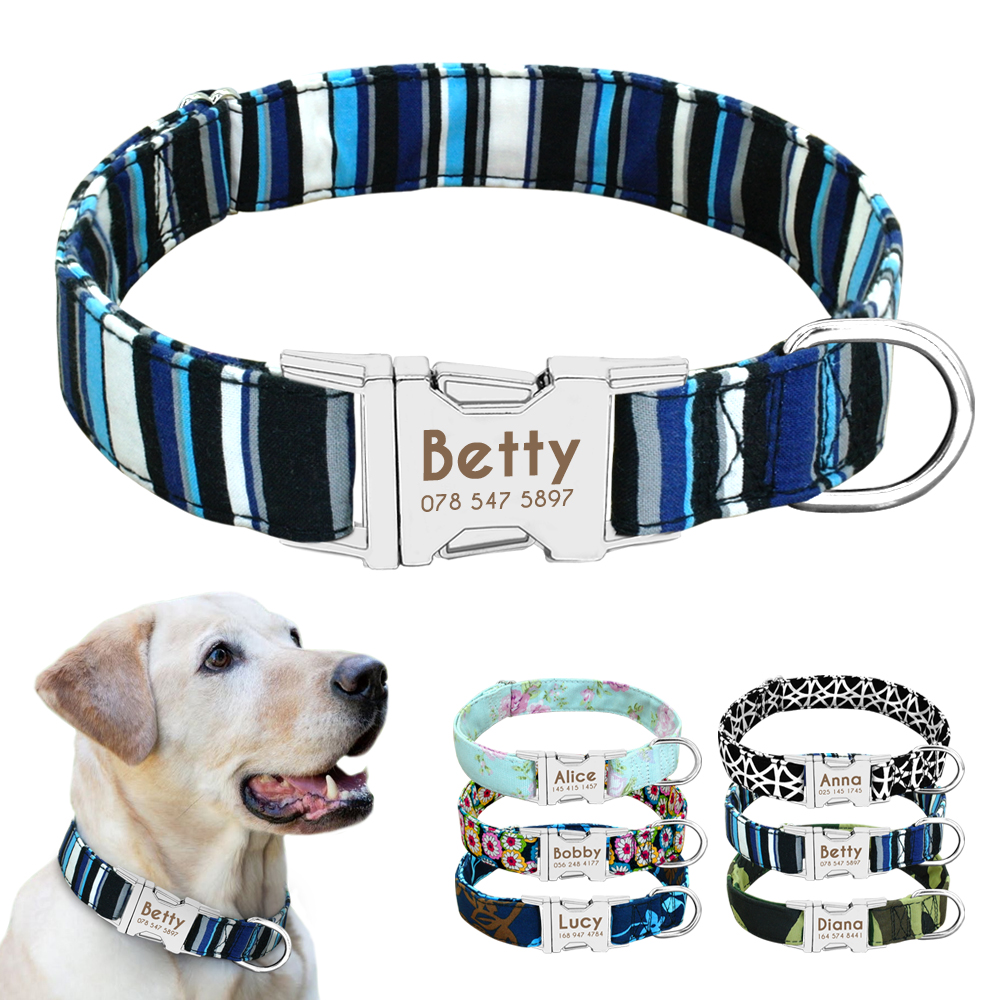 Dog Collar Nylon Personalized Custom Dog ID Tag Collar Engraved Nameplate Pet Cat Collar Antilost for Small Medium Large Dogs