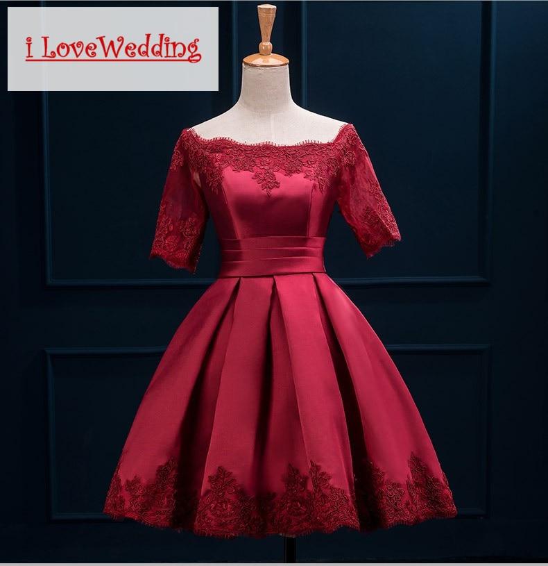 iLoveWedding Bourgondische korte prom dresses Halflange mouw Satijnen - Jurken voor bijzondere gelegenheden - Foto 1