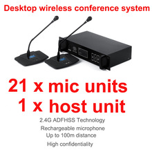 professional 2.4G Digital Wireless Desktop conference microphone system consists of 1 host unit, 21 chairman and delegate units