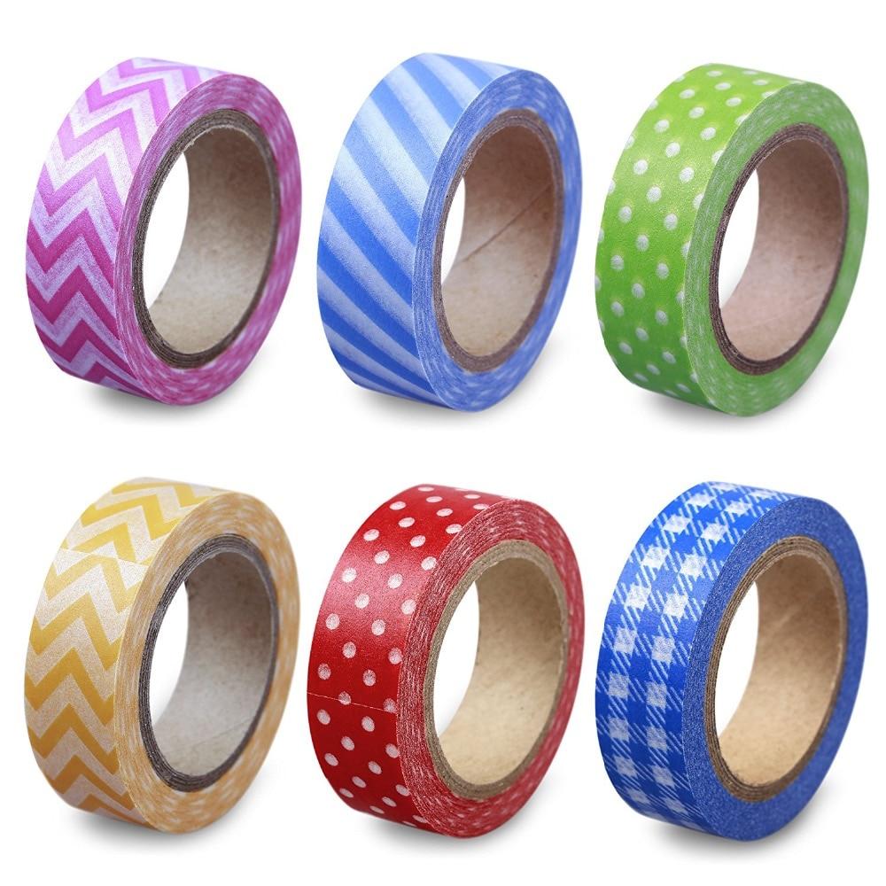LolliZ 6 PCS/Pack Washi Tape Adhesive Tape Picnic Party Set DIY Decorative Tape Color Paper Adhesive Tapes color picnic set