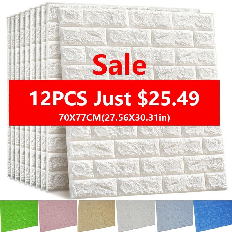 3D Wall Stickers Imitation Brick Bedroom Decor Waterproof Self-adhesive Wallpaper For Living Room Kitchen TV Backdrop Decor70*77
