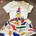 Бесплатная Доставка 2016 Весна/Лето Новый Бренд Девушки Устанавливает футболки + Юбки Детская Одежда Наряды Хлопка Девушка одежда
