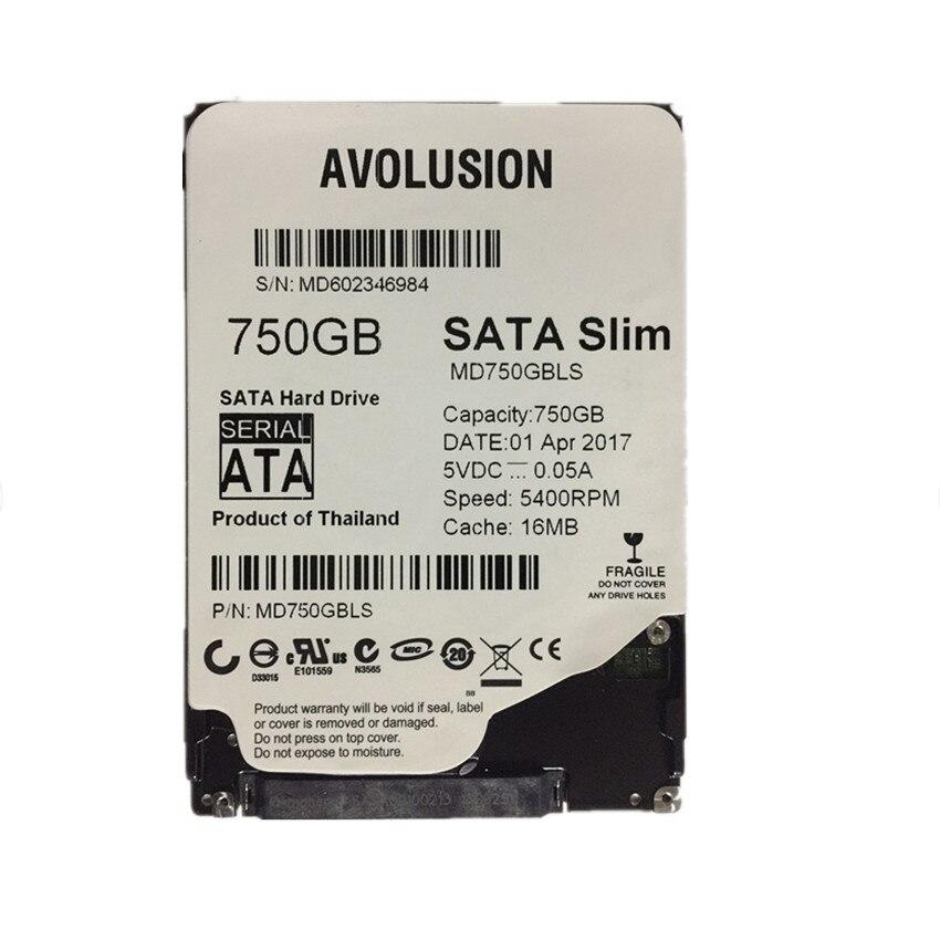 AVOLUSION 750GB 2.5inch 7mm Slim HDD SATA 6Gb/s 5400 RPM 16MB Cache Warranty for 1-year 395501 002 601452 001 mb0500cbepq 500 gb 7 2k sata 3 5inch 1 year warranty