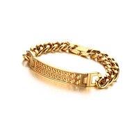 Лидер продаж Великая китайская стена зерна толстая цепь золото Цвет титана стальной браслет для мужчин