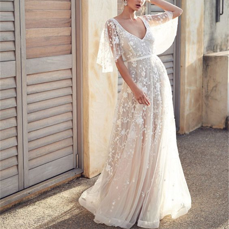 2019 Women Summer Sexy Party Night Dresses Elegant Vintage Lace Backless White Maxi Dress Plus Size