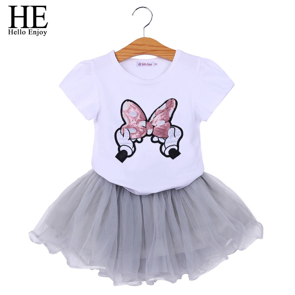 Mädchen Kleidung Grauen Rock 2 Stücke Anzüge Kinder Kleidung Setzt Neue Sommer 2-6year Mutter & Kinder Sammlung Hier Er Hallo Genießen Mädchen Boutique Outfits Cartoon Bowknot Pailletten Tops