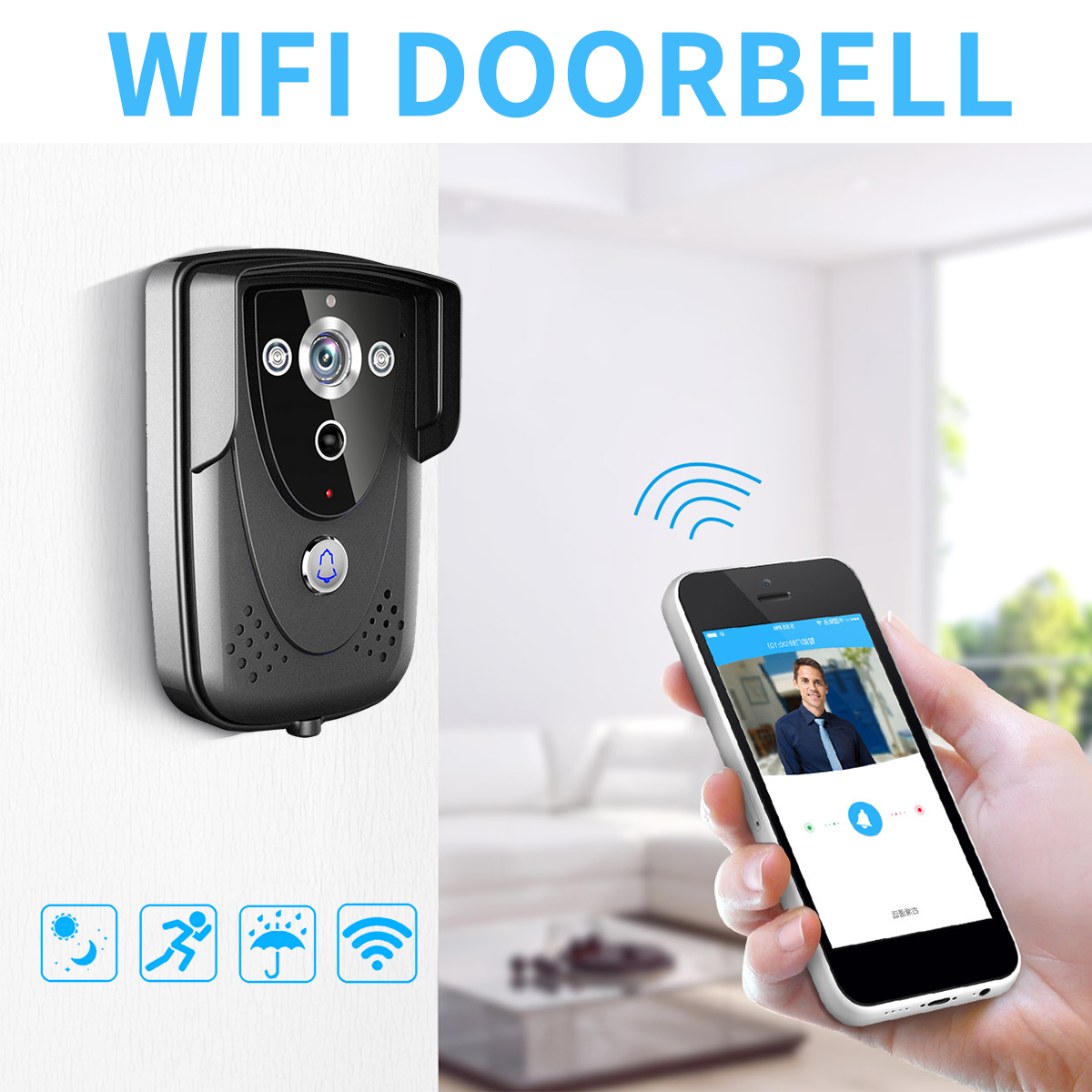 Smart 1 million pixel Wireless WiFi Video Door phone Intercom Record Doorbell For Smartphone Remote View Unlock IOS Android jcsmarts rfid access wireless wifi ip doorbell camera video intercom for android ios smartphone remote view unlock with sd card