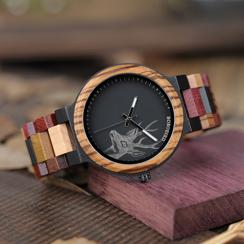 shipping aliexpress quartz ebony from men drop bobo watches for wood wooden handmade item redwood luxury bobobird bird pine watch com in tone two on timepieces