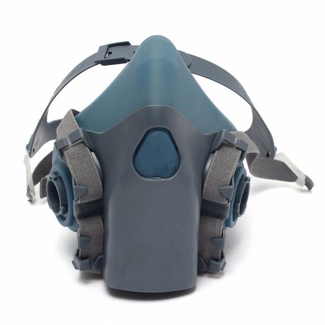 7 UNIDS Un Conjunto Cubierta Del Filtro Traje Respirador Pintura Rociar Cara Máscara De Polvo de Gas Nueva Llegada Azul de Silicona Envío Gratis