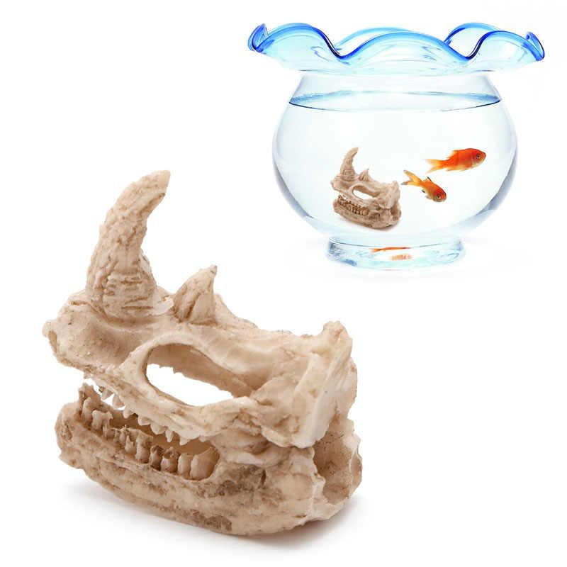 Resina rinoceronte crânio peixe decoração tanque ornamento aquário decoração paisagismo novo