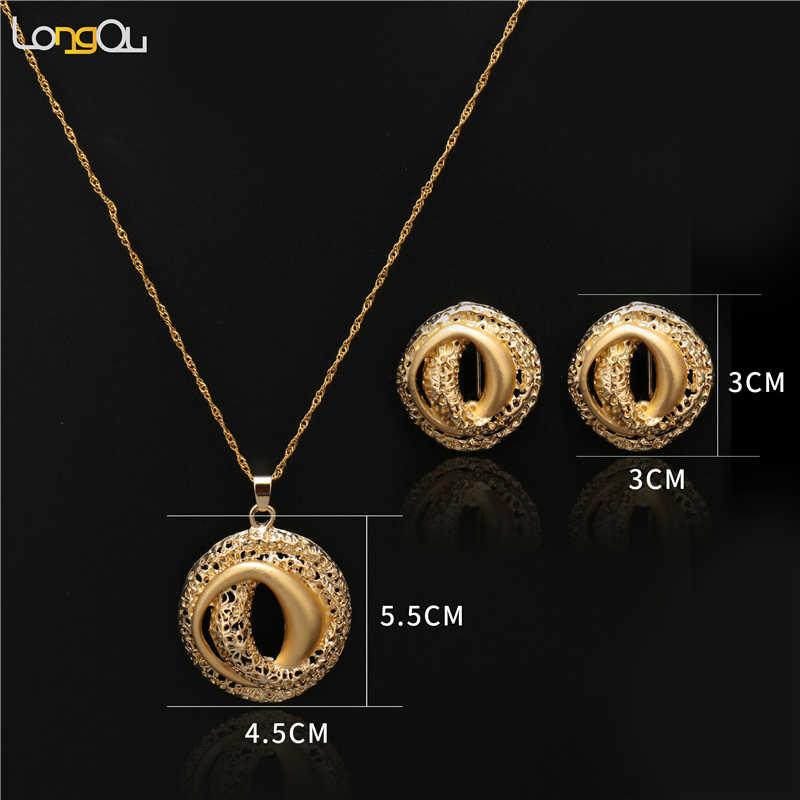 אופנה זהב-צבע תכשיטי סט למסיבה אפריקאית נשים חתונה תכשיטים להגדיר 2018 גדול femme עגילי שרשרת תכשיטי סטים