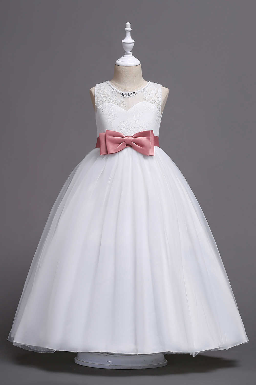 Новое поступление, кружевные платья принцессы с цветочным узором для девочек 2019 бальное платье с большим бантом, пышные платья для девочек платья для первого причастия вечерние платья